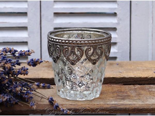 Teelichtglas mit Perlenkante