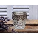 Teelichtglas / Kerzenglas mit Perlenkante