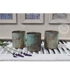 3er Teelichthalter Set türkis-grün
