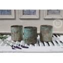 3er Set Teelichthalter / Kerzenglas türkis-grün