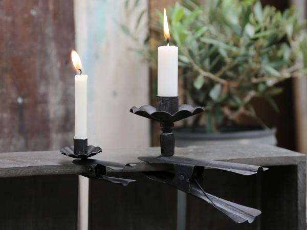 Großer Kerzenhalter mit Klemme schwarz