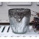 Teelichthalter / Kerzenglas 'Perla' groß