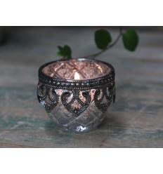Teelichthalter / Kerzenglas Bauernsilber