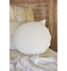 Kissenbezug mit Häkelspitze rund weiß