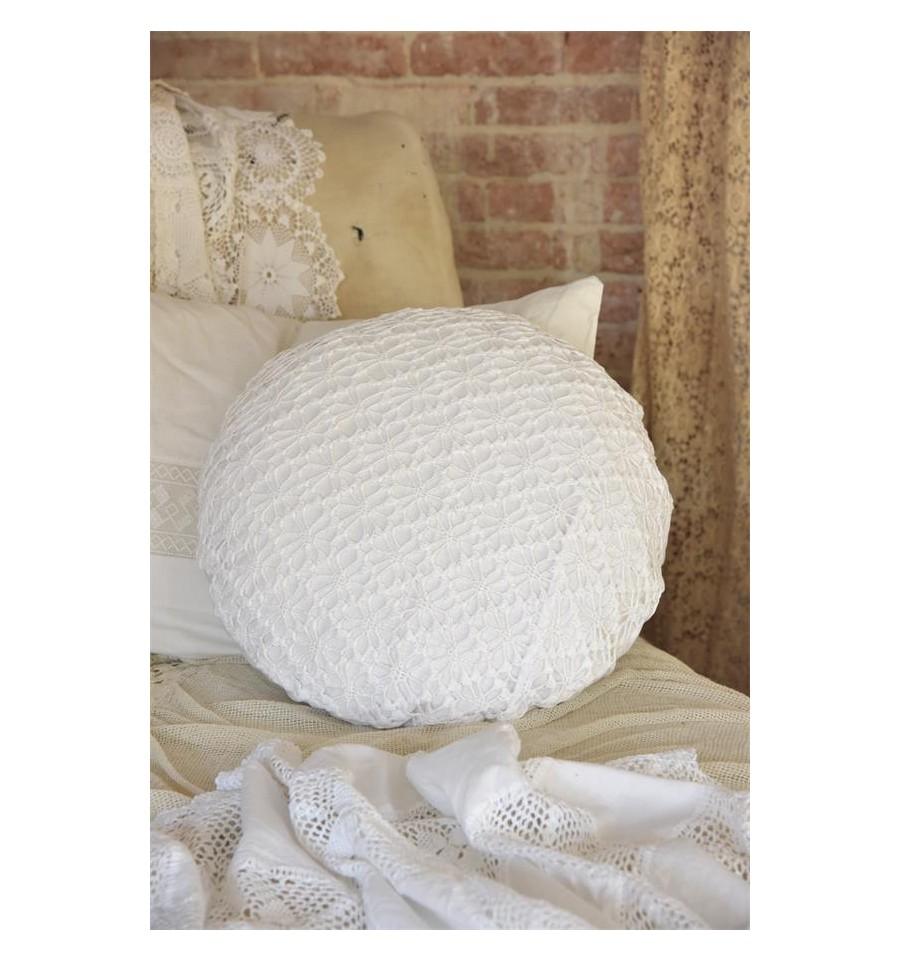 kissenbezug mit h kelspitze rund wei kissenbez ge kissen. Black Bedroom Furniture Sets. Home Design Ideas