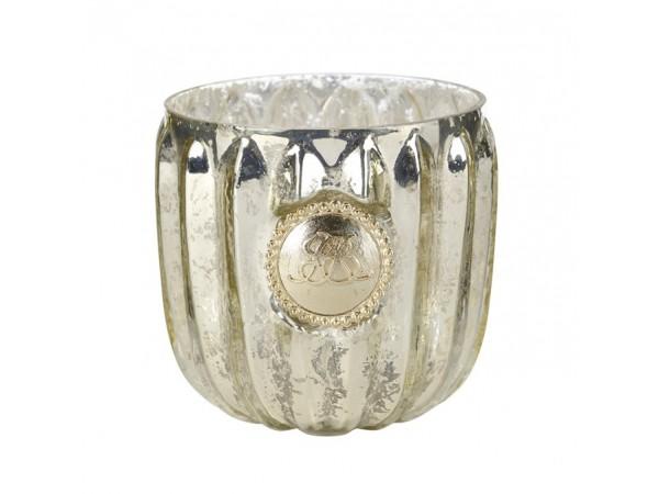 Teelicht 'Dante' antik silber/gold klein