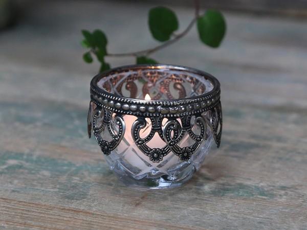 Teelichthalter / Kerzenglas mit silber Dekor