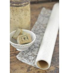 Organzastoff mit floralem Muster creme-weiß