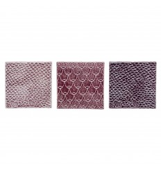 Deko Fliesen 3er Set rosa lila violett
