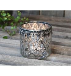 Teelichthalter mit  Metall-Dekor