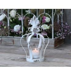 Teelichthalter, Kerzenglas 'Krone' weiß