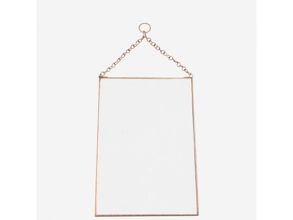 Wandspiegel mit Kette kupfer