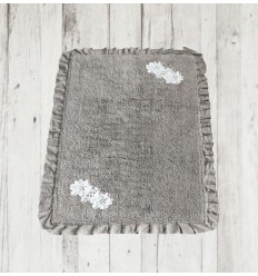 Badteppich mit Blüten-Stickerei beige