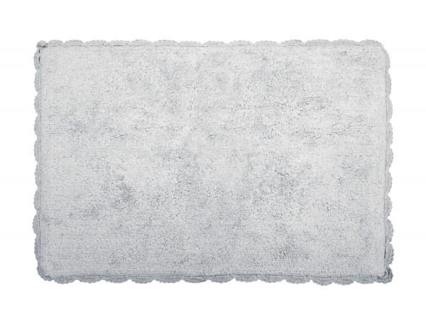 Badteppich mit Häkelspitze hellgrau