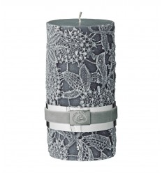 Kerze Stumpenkerze 'Crochet' dunkelgrau