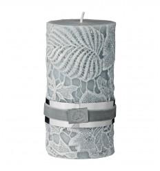 Kerze Stumpenkerze 'Crochet' grau