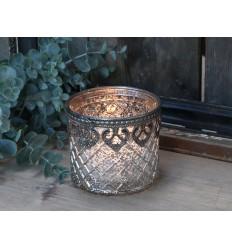 Teelichthalter mit Silber-Dekor (356)