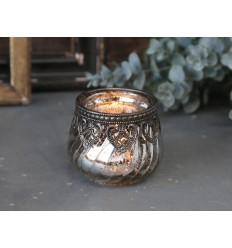 Teelichthalter mit Silber-Dekor (354)