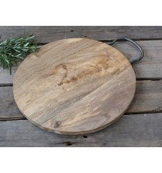 Servierbrett aus Mangoholz rund