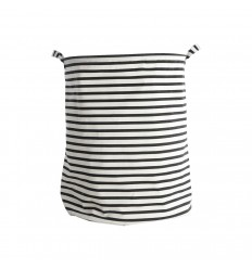 Wäschekorb 'Stripes' weiß schwarz