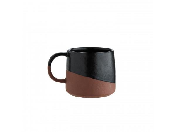 Große Tasse Becher 'Two Tone' 450 ml schwarz/teraccota