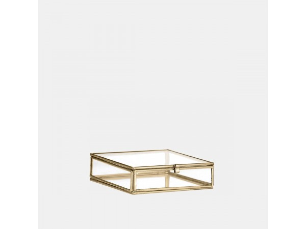 Glasbox Schmuckdose gold 10,5 x 10,5