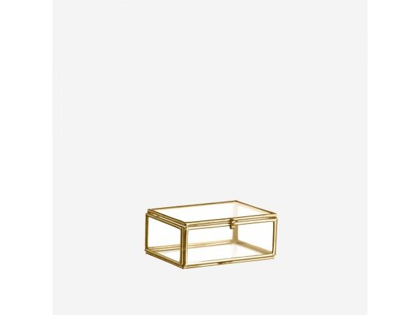 Glasbox Schmuckdose gold 8,5 x 6