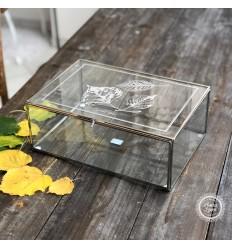 Glasbox Schmuckdose mit Blättermotiven