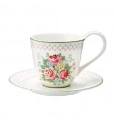 Greengate Kaffeetasse Teetasse + Untertasse 'Aurelia white'