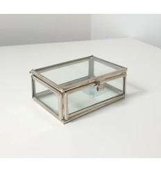 Glasbox Schmuckdose silber 8,5 x 6