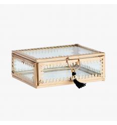Glasbox Schmuckdose gold groß