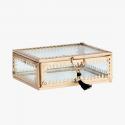Madam Stoltz Glasbox Schmuckdose gold groß/B-Ware