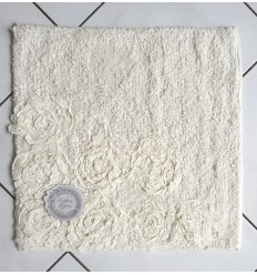 Badteppich mit Volant-Rosen ecru 50x50