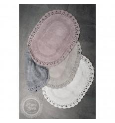 Badteppich mit Häkelborte oval 40 x 60