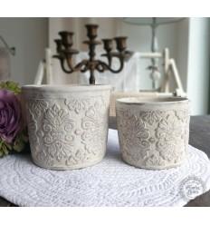 Blumentopf Übertopf mit Muster antik creme