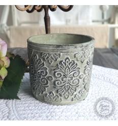 Blumentopf Übertopf mit Muster antik grün