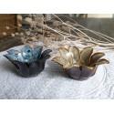 Teelichthalter Blume blau, braun