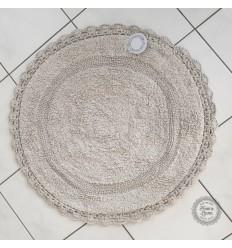 Badteppich mit Häkelspitze in grau-beige