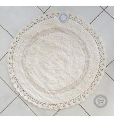 Badteppich mit Häkelspitze in ecru