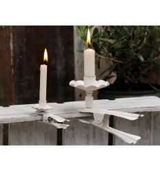 Kleiner Kerzenhalter mit Klemme in weiß