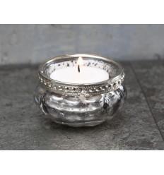 Teelichthalter mit Perlenrand silber