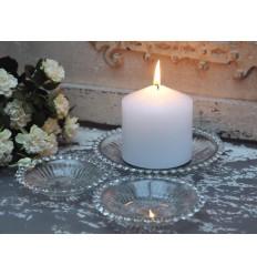3er Set Kerzenhalter Schale mit Perlenkante/B-Ware